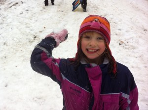 Happy in the snow at Coyote's Path